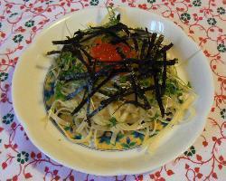 Spaghettini with salmon roe