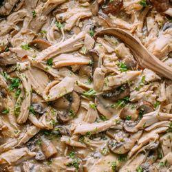 Turkey in Creamy Mushroom Sauce